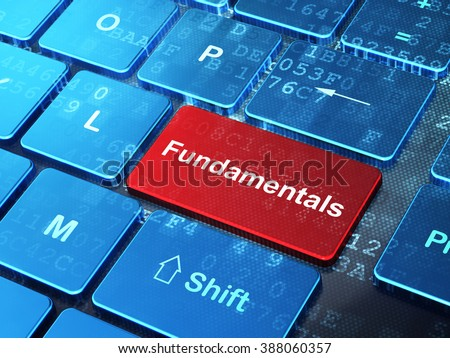 Science concept: Fundamentals on computer keyboard background - stock photo