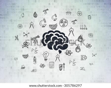 Science concept: Painted black Brain icon on Digital Paper background with  Hand Drawn Science Icons, 3d render - stock photo