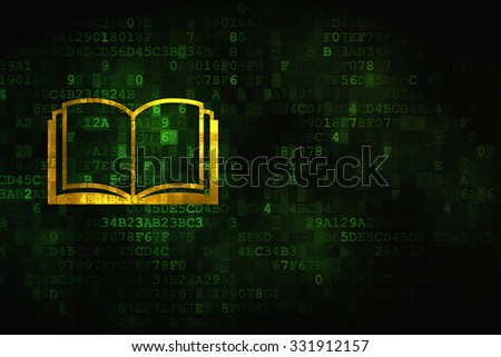 Science concept: pixelated Book icon on digital background, empty copyspace for card, text, advertising - stock photo