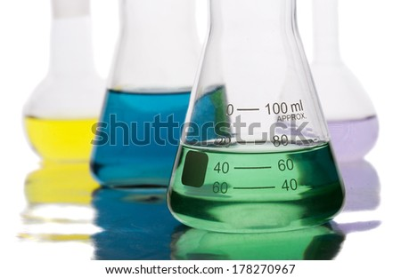 Science equipment in laboratory isolated on white background - stock photo