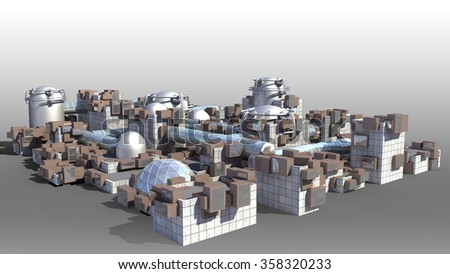 Science fiction city with glass domes, tubes and metallic structures with the isolation work path included in the jpg file for futuristic or fantasy backgrounds  - stock photo