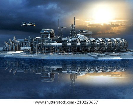 Science fiction cityscape with metallic structures, marina and hoovering aircrafts for futuristic or fantasy animated backgrounds - stock photo