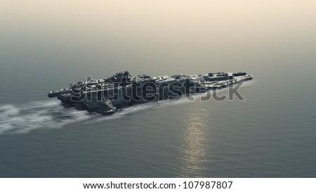 Science fiction futuristic battle ship at sea, 3d digitally rendered illustration - stock photo