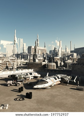 Science fiction illustration of a busy spaceport in a future city on a bright sunny day, 3d digitally rendered illustration - stock photo