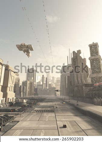 Science fiction illustration of a future city street with space cruiser and other aerial traffic overhead in hazy sunshine, 3d digitally rendered illustration - stock photo