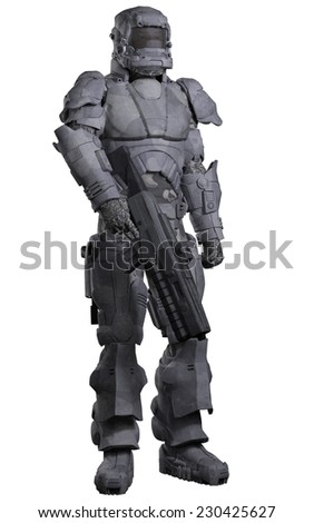 Science fiction illustration of a futuristic Space Marine wearing a suit of heavy urban combat armour, 3d digitally rendered illustration - stock photo