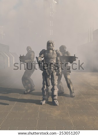 Science fiction illustration of a group of three futuristic Space Marines in heavy armour advancing from the mist in the street of a future city, 3d digitally rendered illustration - stock photo