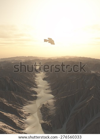 Science fiction illustration of a spaceship flying over a canyon on a desert planet, 3d digitally rendered illustration - stock photo