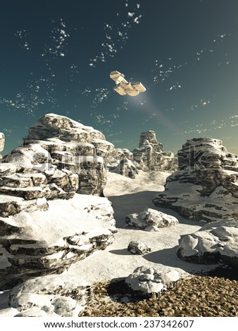 Science fiction illustration of a spaceship flying over a snowy winter landscape on a deserted planet in bright sunshine, 3d digitally rendered illustration - stock photo