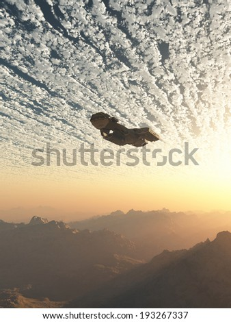 Science fiction illustration of a spaceship flying under the clouds of an earth-like planet at sunset, 3d digitally rendered illustration - stock photo