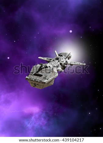 Science fiction illustration of an interplanetary spaceship flying away from a purple nebula in deep space, digital illustration (3d rendering) - stock photo