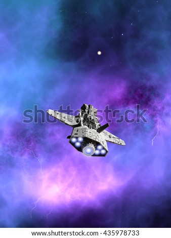 Science fiction illustration of an interplanetary spaceship flying towards a purple nebula in deep space, digital illustration (3d rendering) - stock photo