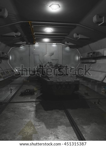 Science fiction illustration of an interplanetary spaceship in space station dock for repairs, digital illustration (3d rendering) - stock photo