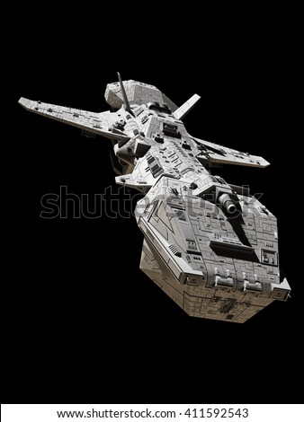 Science fiction illustration of an interplanetary spaceship, isolated on black, front view, 3d digitally rendered illustration (3d rendering, 3d illustration) - stock photo