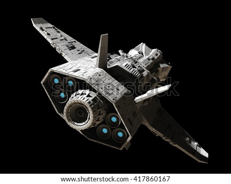Science fiction illustration of an interplanetary spaceship, isolated on black, rear angled view with blue engine glow, 3d digitally rendered illustration (3d rendering, 3d illustration) - stock photo