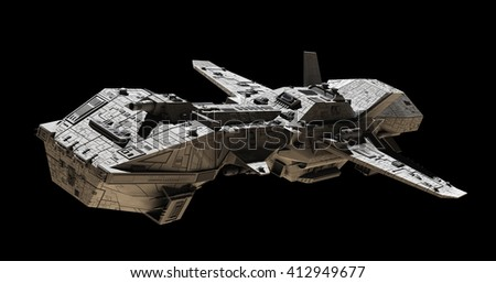 Science fiction illustration of an interplanetary spaceship, isolated on black, side angled view, 3d digitally rendered illustration (3d rendering, 3d illustration) - stock photo