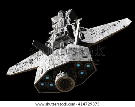 Science fiction illustration of an interplanetary spaceship, isolated on black, top rear view with blue engine glow, 3d digitally rendered illustration (3d rendering, 3d illustration) - stock photo