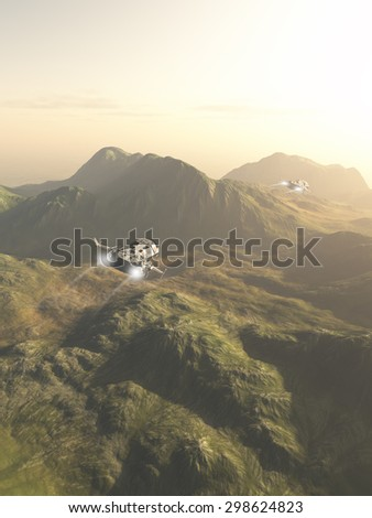 Science fiction illustration of small spaceships flying a scouting mission across the mountains on an alien planet, 3d digitally rendered illustration - stock photo