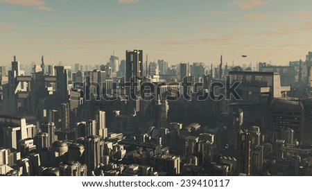 Science fiction illustration of the aerial view a future city at late afternoon with low lighting and shuttle craft overhead, 3d digitally rendered illustration - stock photo