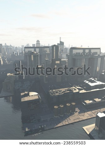 Science fiction illustration of the canal district of a future city in early morning mist, copy space in sky, 3d digitally rendered illustration - stock photo