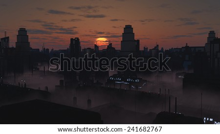 Science fiction illustration of the streets of a future city filled with mist at sunset, 3d digitally rendered illustration - stock photo