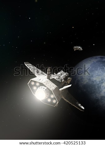 Science fiction illustration of two spaceships about to pass on the approach to an alien planet, digital illustration (3d rendering) - stock photo