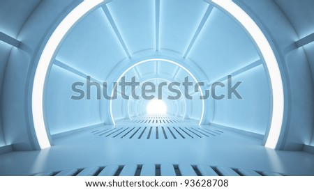Science fiction interior rendering - sci-fi corridor - stock photo
