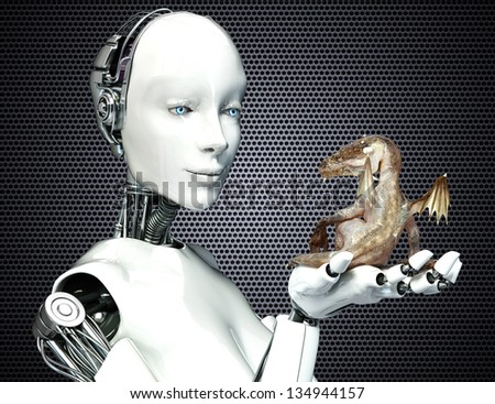Science Fiction meets Fantasy. Female android robot holding a baby dragon - stock photo