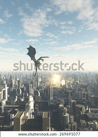 Science fiction or fantasy illustration of a dragon making a fiery attack on a future city, 3d digitally rendered illustration - stock photo