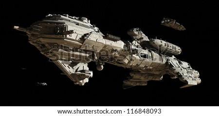 Science fiction scene of a futuristic interstellar escort frigate and small scout ships travelling through deep space, 3d digitally rendered illustration - stock photo