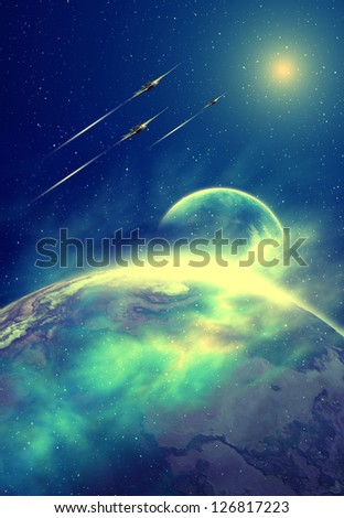 Science Fiction Scene With Moons and Spaceships - Computer Artwork - stock photo