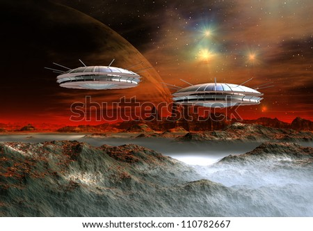 Science Fiction Scene with Spaceships - stock photo