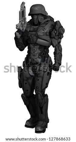 Science fiction space marine commando isolated on white, 3d digitally rendered illustration - stock photo