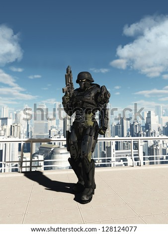 Science fiction space marine commando patrolling the streets of a futuristic city, 3d digitally rendered illustration - stock photo