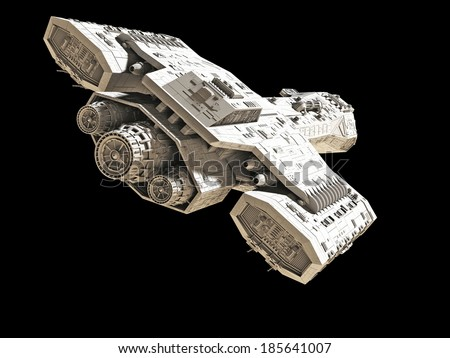 Science fiction spaceship isolated on a black background, back angled view, 3d digitally rendered illustration - stock photo