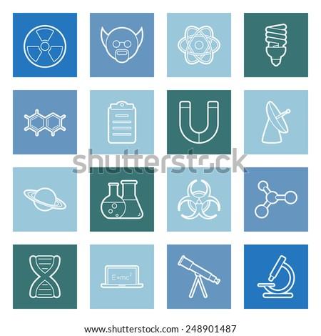 Science flat icons set graphic illustration - stock photo