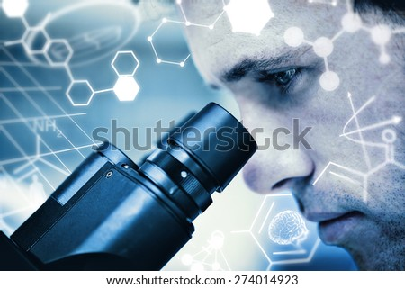 Science graphic against close up of a scientific researcher using microscope - stock photo