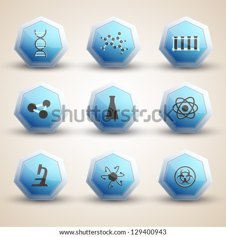 Science icones set. Illustration. - stock photo