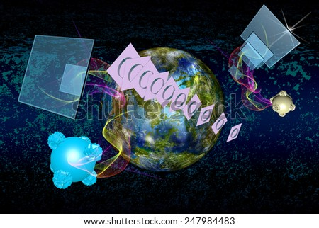 Science.Research Cosmos.Digital telecommunications technology - stock photo