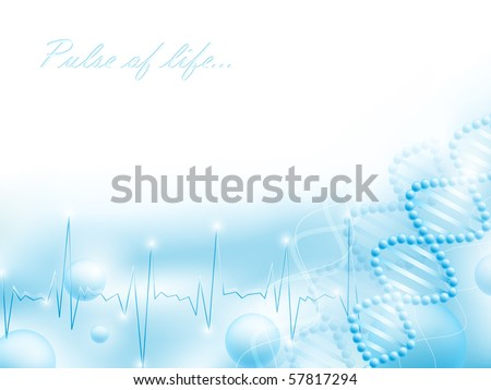 science theme with DNA  elements and pulse, copyspace for your text - stock photo