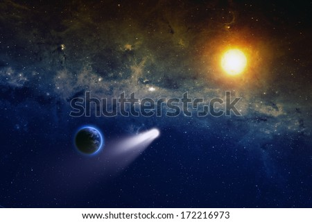 Scientific and astrological background - comet, planet Earth, bright orange sun, space with stars and nebula, mystical sign in sky. Elements of this image furnished by NASA/JPL-Caltech - stock photo