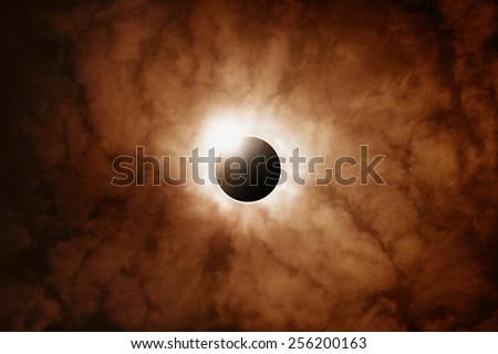 Scientific background, astronomical phenomenon - full sun eclipse  - stock photo