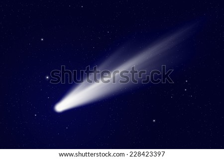 Scientific background - comet in deep space, stars in space - stock photo