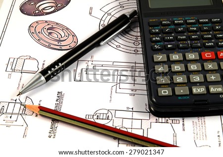 Scientific calculator, Pen and Pencil over the Engineering Drawing Map - stock photo