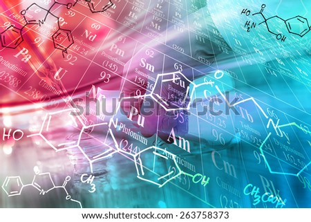 Scientific concept, pouring liquid into flask with periodic table and chemical structure background - stock photo
