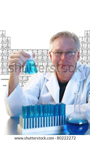 Scientific concept--Scientist holding test tubes with liquid over a white background with room for your text. - stock photo