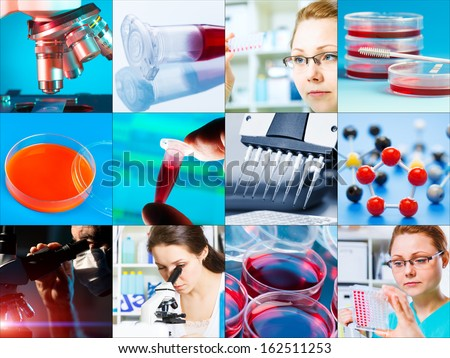 scientific design elements Collage - microbiology, genetics, scientists - stock photo