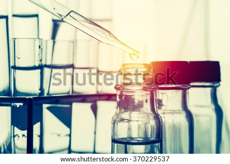 Scientific equipment with lighting effect vintage style,science background - stock photo