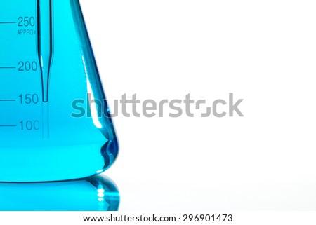 Scientific research glassware pipette drop, white background  for chemical research - stock photo