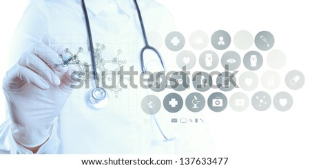 scientist doctor hand draws virtual molecular structure in the lab - stock photo